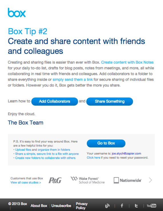 Box 2 email template