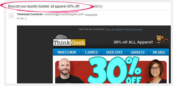 catchy email subject line-thinkgeek, email- subject- line- rules