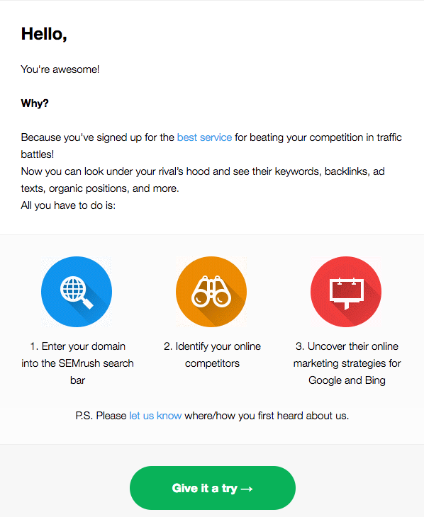 Welcome email template example showing a well-thought call to action engaging happy buyer and prompting for clicks, sets crisp text in email body, encourage reading ease, show free trials options