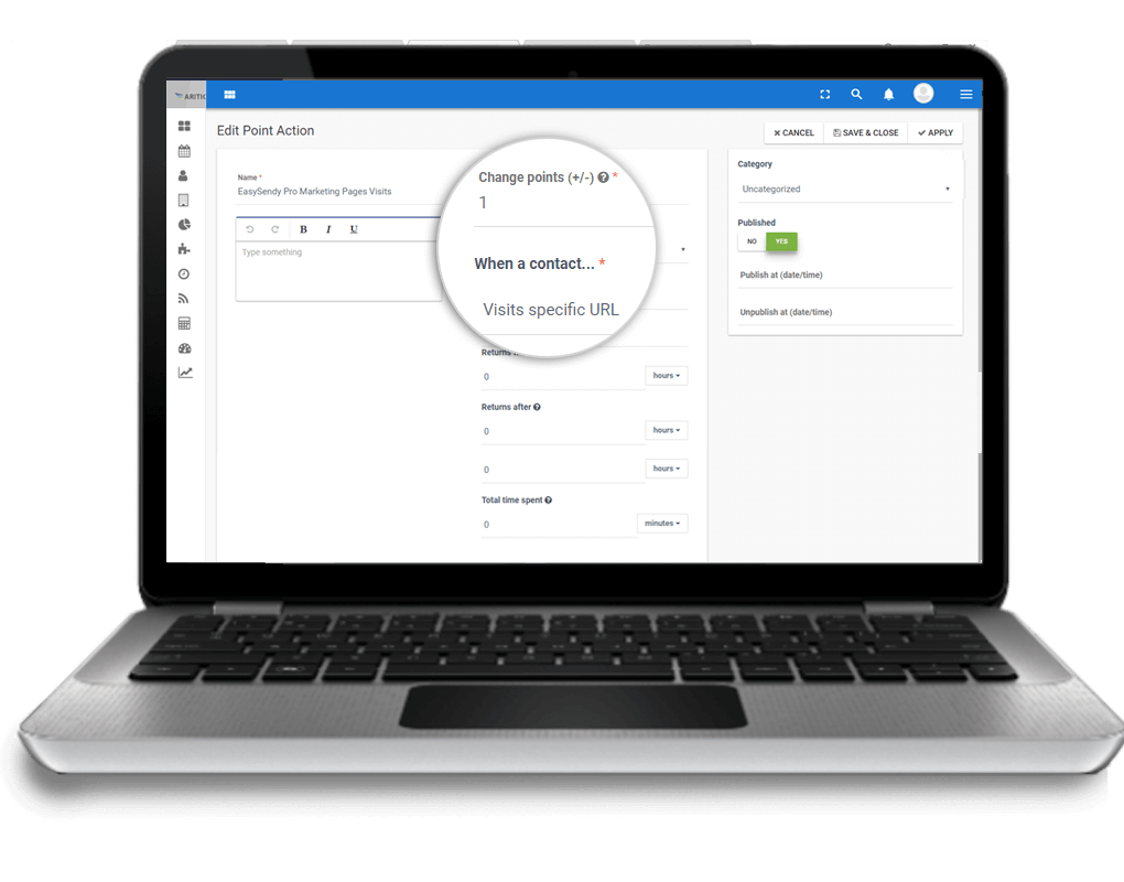 Assign-points-for-every-action, lead scoring automation