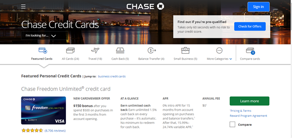 chase landing page, landing page definition
