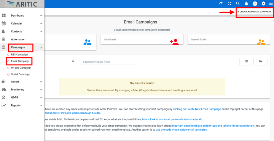 create new email campaigns