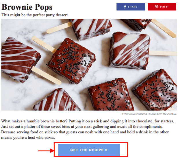 brownie pops call-to-action example