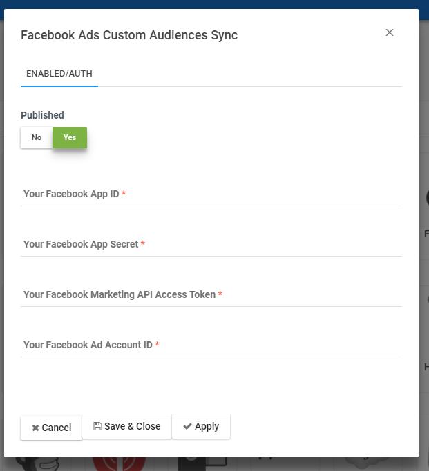 facebook custom ads setting